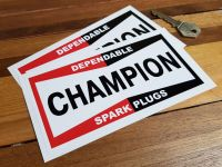 "Champion Spark Plugs 'Dependable' Oblong Stickers. 4"" or 6"" Pair."