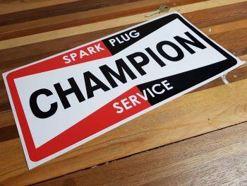 "Champion Spark Plug Service Sticker. 14.5"". 2 sizes"