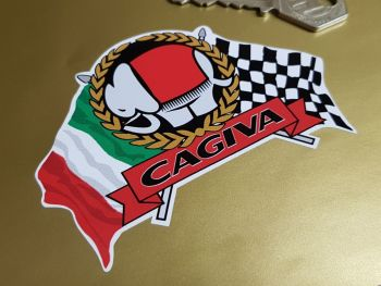 "Cagiva Flag & Scroll Sticker 4"""