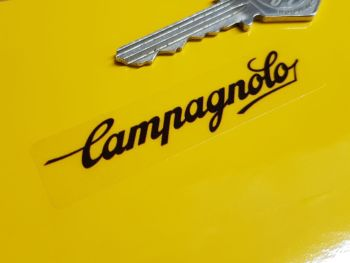 """Campagnolo Script Wheel Stickers Set of 5 - Black & Clear - 2"""" or 2.75"""""""