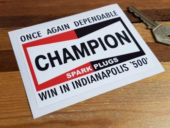"Champion Indianapolis 500 Winners Sticker 4.5"""