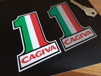 "Cagiva Plain Tricolore No.1 Stickers 4"" Pair"