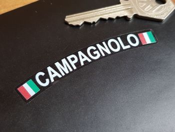 """Campagnolo Curved White Text & Tricolore Style Stickers. Set of 4. 3""""."""