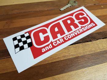 "Cars & Car Conversions Cut To Shape Sticker. 8""."