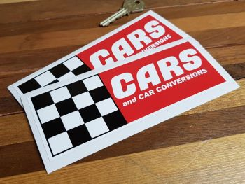 """Cars & Car Conversions Chequered Stickers. 6.25"""" Pair."""