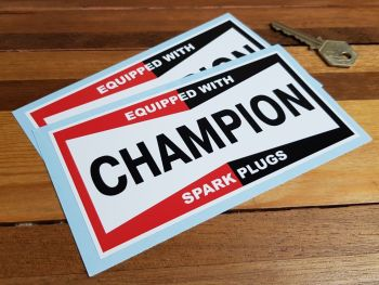 """Champion Spark Plugs 'Equipped With' Oblong Stickers - 4.25"""", 6"""" or 7"""" Pair"""