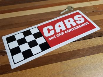 """Cars & Car Conversions Chequered Sticker. 10.5""""."""