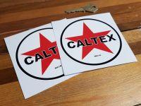 "Caltex Circular Logo Stickers. 3"", 4"" or 6"" Pair."