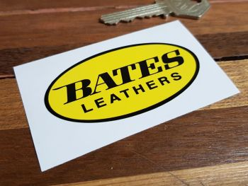 """Bates Leathers Oval Sticker. 3"""" or 4""""."""
