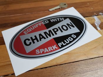 """Champion Spark Plugs 'Equipped With' Silver Oval Sticker. 8""""."""