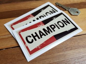 """Champion Worn Distressed Aged Look Stickers. 4"""" Pair."""