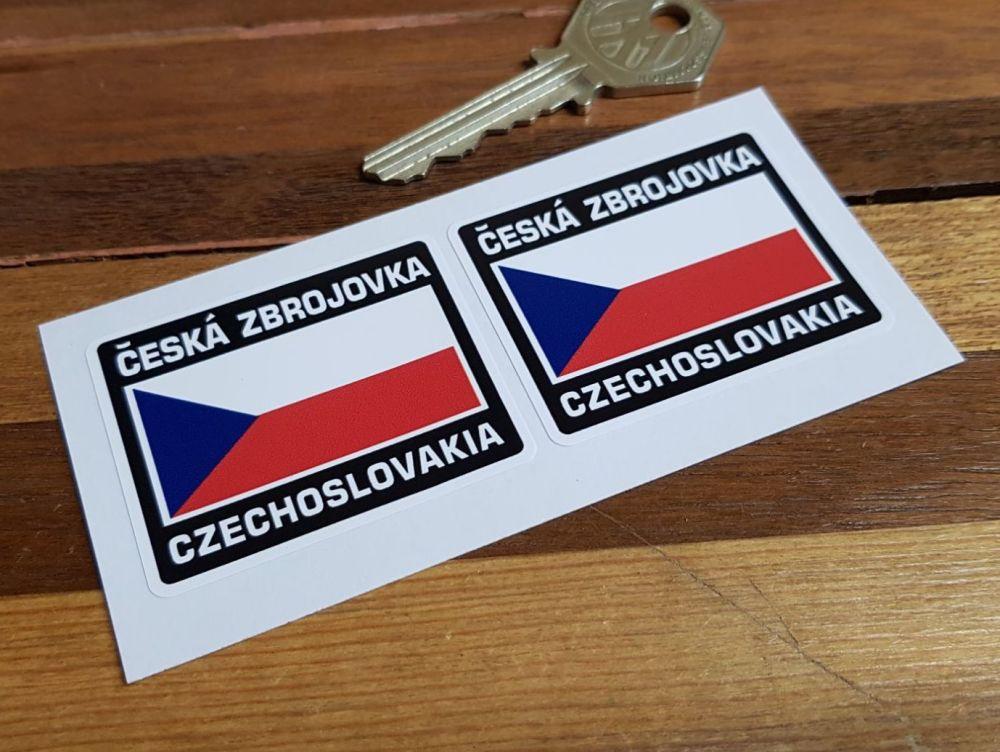 CZ Česká Zbrojovka Czech Flag Style Stickers. 2