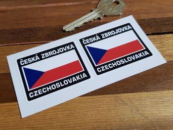 """CZ ÄŒeská Zbrojovka Czech Flag Style Stickers. 2"""" Pair."""