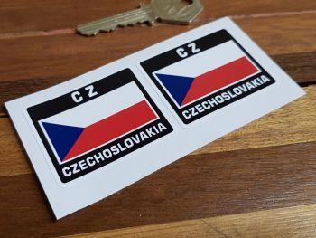 """CZ Czechoslovakia Flag Style Stickers. 2"""" Pair."""