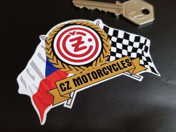 "CZ Motorcycles Flag & Scroll Sticker 4"""