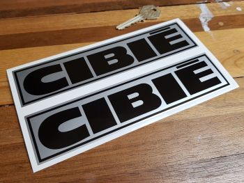 """Cibie Black & Silver Oblong Stickers. 8"""" Pair."""