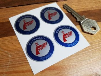 Cromodora Wheels Round Stickers. Colour & Silver. Set of 4. 35mm.