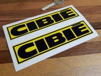 "Cibie Black & Yellow Coachlined Oblong Stickers. 4"", 6"", 7.5"", 10"" or 12"" Pair."