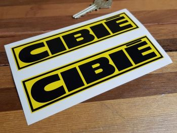"""Cibie Black & Yellow Coachlined Oblong Stickers. 4"""", 6"""", 7.5"""", 10"""" or 12"""" Pair."""