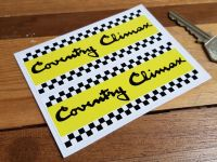 """Coventry Climax Chequered Oblong Stickers. 4"""" Pair."""