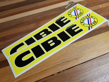 """Cibie Racing Team Logo on Right Narrow Stickers. 14"""" or 15"""" Pair."""