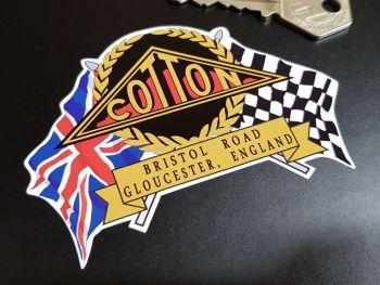 "Cotton Flag & Scroll Sticker 4"""