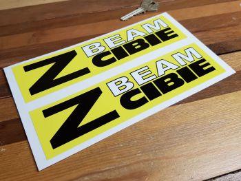 "Cibie Z Beam, Black, White, & Yellow Stickers. 8"" Pair."