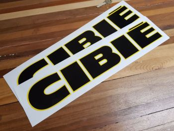 """Cibie Black & Yellow Cut To Shape Letters Stickers. 16.5"""" Pair."""
