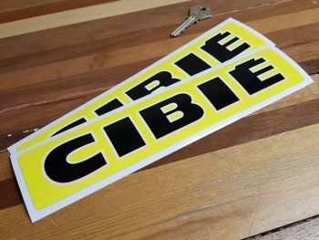 """Cibie Black & Off White Text on Yellow Narrow Style Oblong Stickers. 10"""" Pair."""