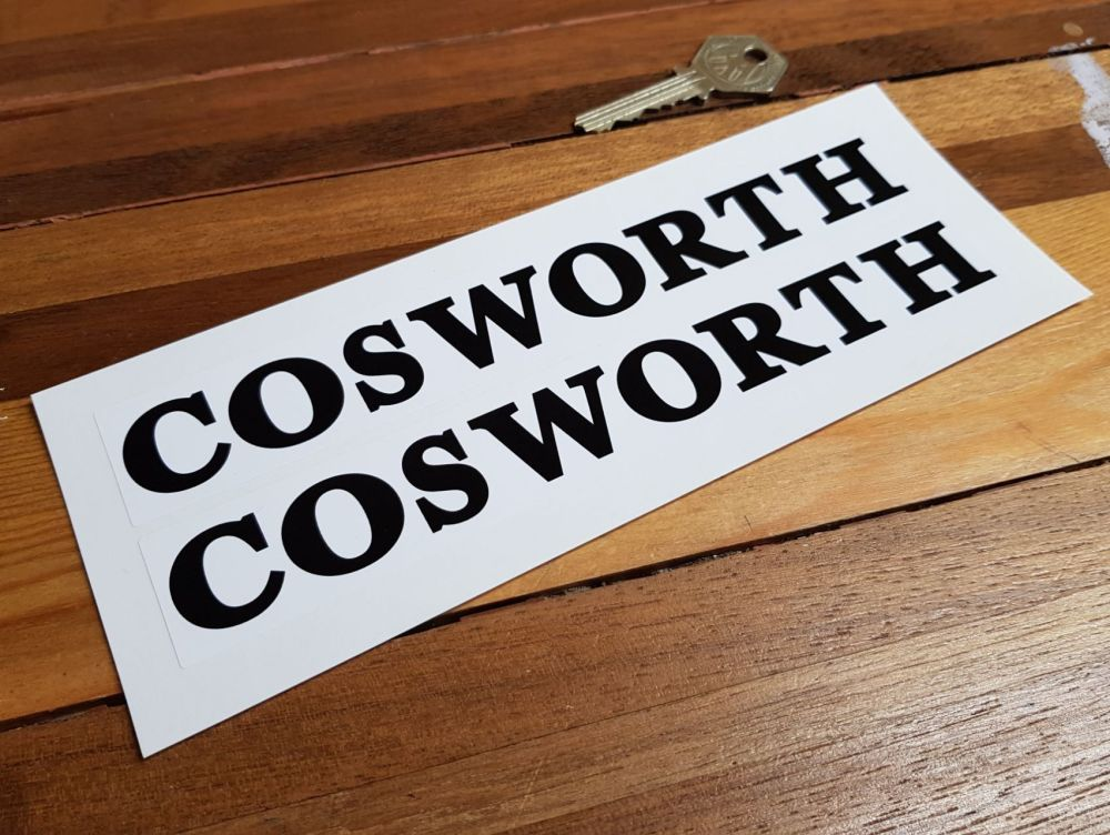 Cosworth Black & White Oblong Stickers. 7.5