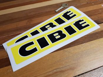 """Cibie Black & White Text on Yellow Narrow Style Oblong Stickers. 10"""" Pair."""