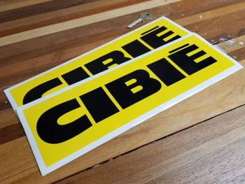 """Cibie Black on Yellow Wide Oblong Stickers. 10"""" or 12"""" Pair."""