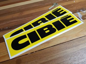 """Cibie Black On Yellow Oblong Stickers. 10"""" or 11.5"""" Pair."""