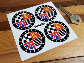 Compomotive Wheels Coloured Circular Stickers. Set of 4. 50mm or 65mm.