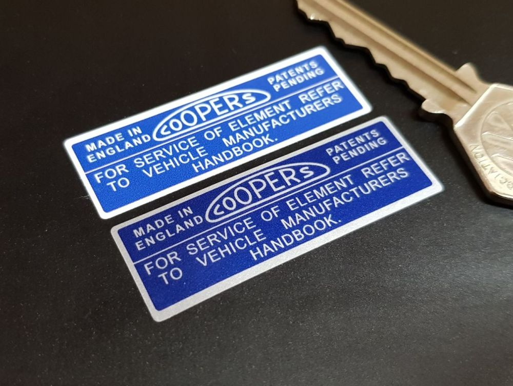 Coopers Air Filter Stickers. Blue & White or Blue & Silver 2