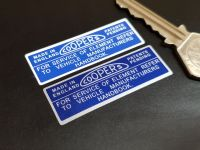 Coopers Air Filter Stickers - Blue & White or Blue & Silver - 2