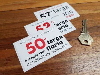 "Targa Florio 60's Competing Verification Sticker - 1966, 1968, or 1973 - 3.25"""