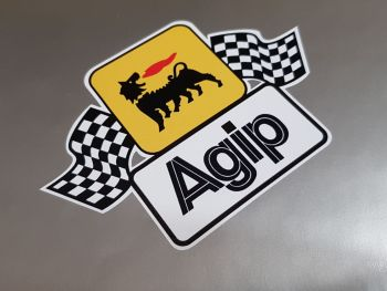 """Agip Earlier Style Wavy Chequered Flags Large Sticker - 8.5"""" or 9.5"""""""