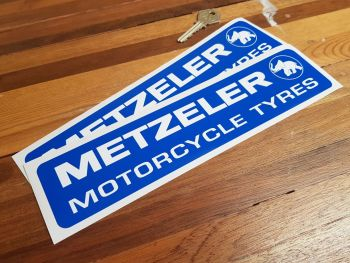 """Metzeler Motorcycle Tyres Oblong Stickers - Rounded Corners - 10"""" Pair"""