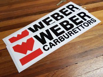 """Weber Carburettors Oblong Stickers 12"""" Pair"""