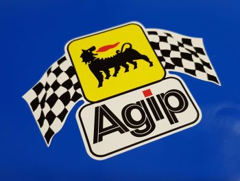 """Agip Later Style Wavy Chequered Flags Large Sticker - 9"""""""
