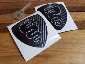 "Alfa Romeo Carbon Fibre Style Serpent Shield Stickers 3"" Pair"