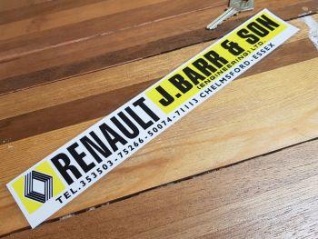 "Renault Dealer Sticker - J.Barr & Son Chelmsford - 11"""