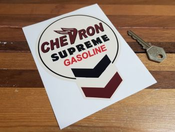 "Chevron Old Beige Keyhole Style Supreme Gasoline Sticker. 4.5""."