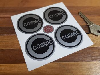 Cosmic Style 1 Black & Silver Wheel Centre Stickers. Set of 4. Various Sizes.