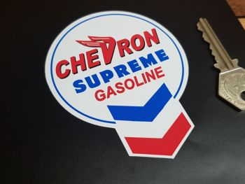 """Chevron Old Keyhole Style Supreme Gasoline Stickers 3"""" Pair"""