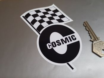 """Cosmic & Chequered Flag Stickers 5"""" Pair"""