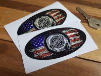 Chrysler Oval Stars & Stripes Fade To Black Sticker - 3