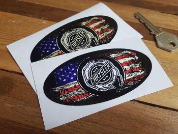 "Chrysler Oval Stars & Stripes Fade To Black Sticker - 3"", 4"", 6"" or 8"""