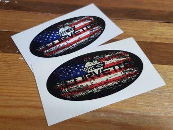 """Chevrolet Corvette Fade To Black Oval Sticker - 3"""", 4"""", 6"""" or 8"""""""